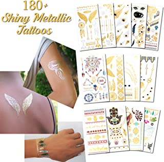 Metallic Temporary Tattoos for Women and Girls - Henna, Hamsa, Tribal, Elephants and Other Shiny Gold and Silver Tattoo Stickers for Body Art (180+ Metallic Tattoos - 13 Sheets)