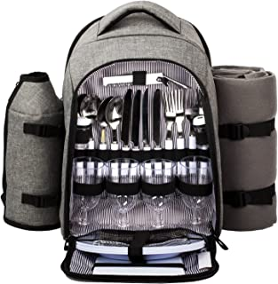 HapTim - Waterproof Picnic Backpack for 4 Person With Cutlery Set, Cooler Compartment, Detachable Bottle/Wine Holder, Fleece Blanket, Plates For Picnic Time(AUGray)