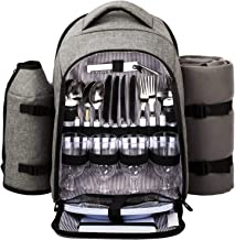 HapTim - Waterproof Picnic Backpack for 4 Person with Cutlery Set, Cooler Compartment, Detachable Bottle/Wine Holder, Fleece Blanket, Plates for Picnic Time(AUGray) …
