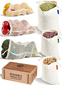 Colony Co. Reusable Produce Bags and Bulk Food Bags, 6-pack - Assorted Sizes, Certified Organic Cotton Mesh and Muslin, Tare Weight Label, Washable, Double-Drawstring, Recyclable Plastic-Free Packaging, Zero Waste