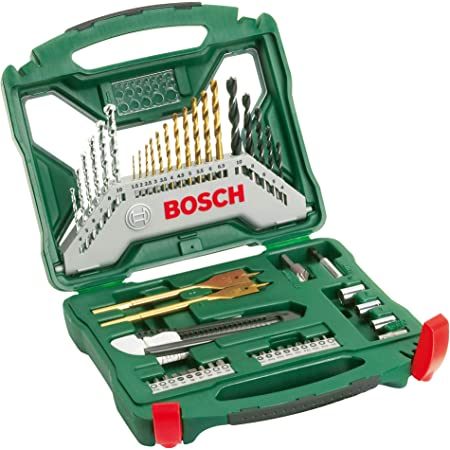 Bosch 50pièces Ensemble de fores et de tournevis en titane X-Line (bois, pierre et métal, accessoires pour perceuses)