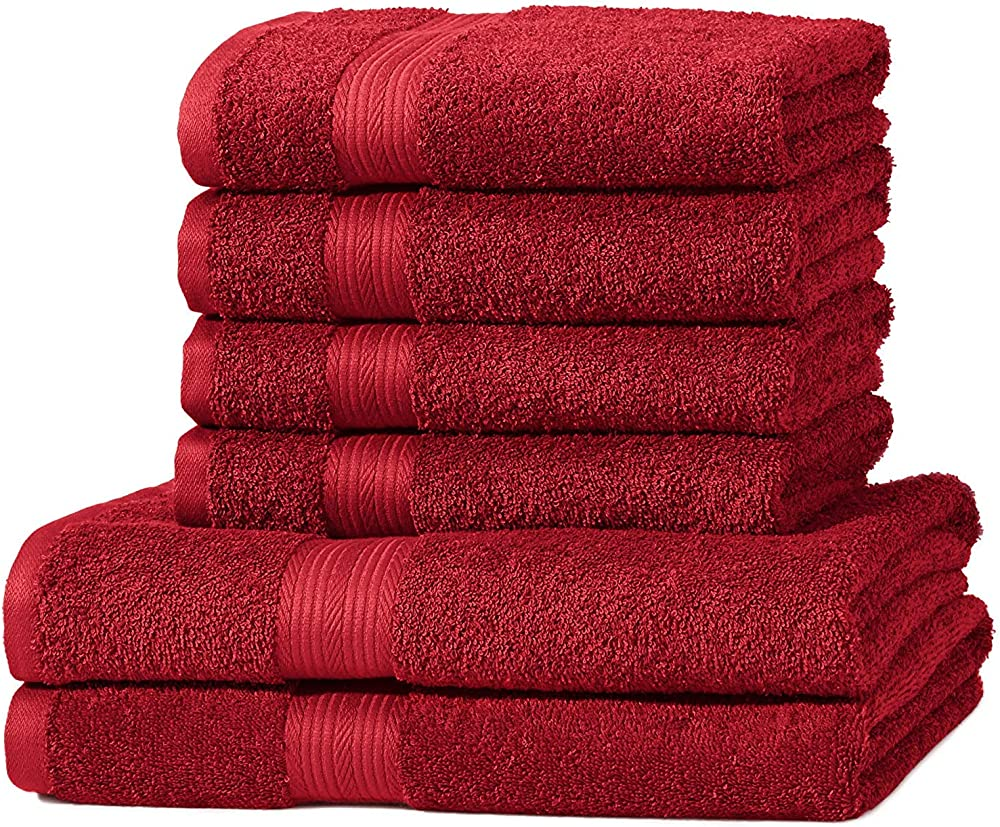 Amazon basics,set di 2 asciugamani da bagno, e 4 asciugamani per le mani,in spugna di cotone ABFR-6PkSet