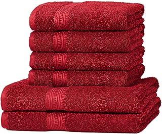 Amazon Basics zestaw ręczników, odporny na blaknięcie, 2 ręczniki kąpielowe i 4 ręczniki, czerwony, 100% bawełny 500 g/m²