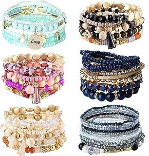 sailimue 6 Sets Bohemian Stackable Bead Bracelets for Women Men Multilayered Stretch Bangles Bracelet Set Boho Multicolor ...