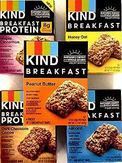 Kind breakfast bars variety 10 Pack 2 Boxes of each: Dark Chocolate, Honey Oat, Peanut Butter, Maple Cinnamon. Total of 80 Bars