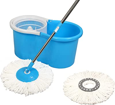 Esquire Elegant(EE2BL) 360° Spin Plastic Bucket Mop with 1 Extra Refill