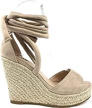 AMS Women's Espadrille Wedge Sandals Peep Toe Ankle Strap Lace Up High Platform Shoes