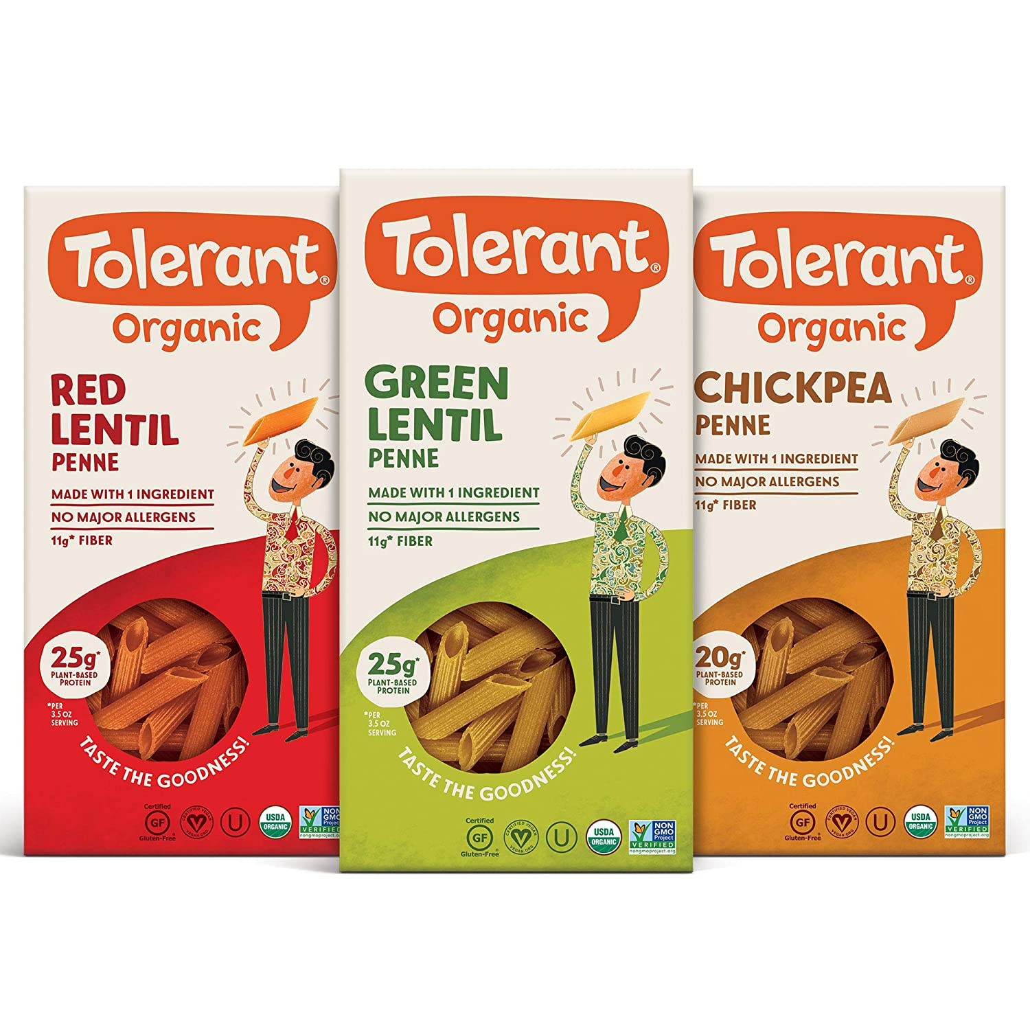 Tolerant Organic Gluten Free Penne Pasta Variety Pack (Green Lentil, Red Lentil, Chickpea), 8oz - Case of 3, Plant Based Protein, Vegan Pasta, Single Ingredient Protein Pasta, Whole Food, Clean Pasta