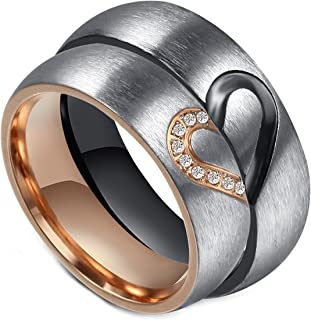 LineAve His and Hers Couple Matching Heart Ring Mens Womens Wedding Band Stainless Steel