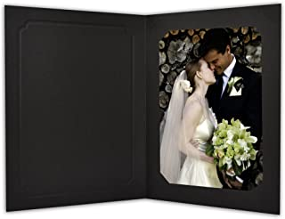 Golden State Art, Acid-Free Photo Folders for 5x7or 4x6 Picture,Pack of 50 Black Cardboard/Paper Frames,Great for Portraits and Photos,Special Events: Graduation,Wedding,Baby Showers