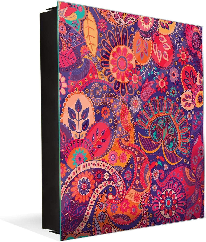 Decorative Key Organizer with Magnetic Surface Dry-Erase K01 Paisley Style