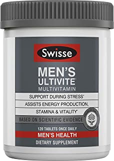 Swisse Premium Ultivite Daily Multivitamin for Men | Energy & Stress Support, Rich in Antioxidant & Minerals | Vitamin A, ...