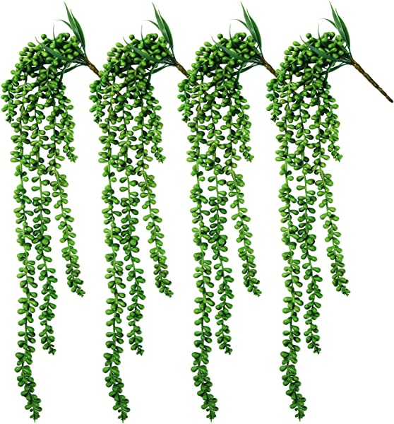 MoonLa 4pcs Artificial Succulents Hanging Plants Fake String Of Pearls Plant Faux Succulents Unpotted Branch Lover S Tears Plants 24 Each Length