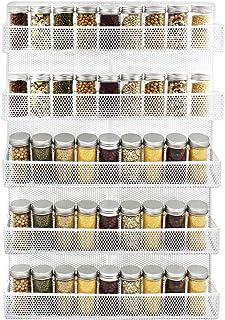 IZLIF 5 Tier Punching Wire Wall Mount Spice Rack Organizer Kitchen Spice Storage Shelf, White