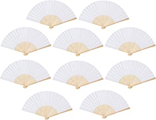 Present Avenue White Bamboo Handheld Folding Fan, Paper Folded Fan Wedding Party Home Decoration Church Wedding Gift, Party Favors (20)