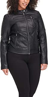 Women's Faux Leather Motocross Racer Jacket (Standard and...