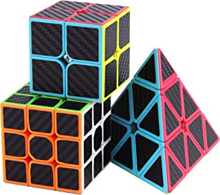Roxenda Speed Cube Set, Magic Cube Set of 2x2x2 3x3x3 Pyramid Cube Carbon Fiber Improved Version Speedcube