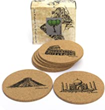 Unique 7 Wonders Of The World Natural Eco Friendly Absorbent Cork Coasters