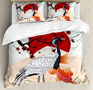 Lunarable Koi Fish Duvet Cover Set, Japanese Culture Inspired Crane and Sea Animals with Sakura Branch Artwork, Decorative 3 Piece Bedding Set with 2 Pillow Shams, King Size, Ruby White