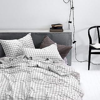 Nyescasa Parure de lit à carreaux 220 x 240 cm - Coton - 3 pièces - Noir et blanc - Housse de couette avec taies d'oreille...