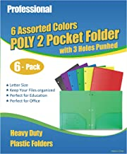 Phetronix 6 Pack Heavy Duty Plastic 2 Pockets Folders with 3 Holes Punched for Letter Size Paper