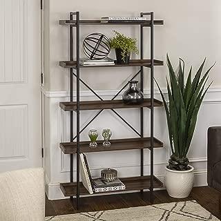 WE Furniture 5 Shelf Industrial Wood Metal Bookcase Bookshelf Storage, 68 Inch, Walnut Brown