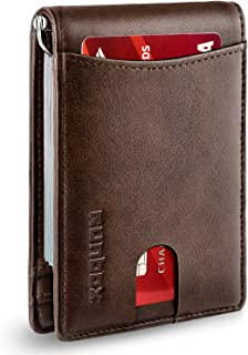 Minimalist Slim Wallet for Men with Money Clip RFID Blocking Front Pocket Leather Mens Wallets