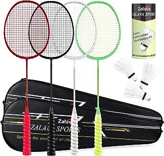 Zalava Super Light Badminton Rackets Badminton Racquets Set with Wrapped Overgrip, Badminton Set of 4/2 Pack,Carbon Fiber,...