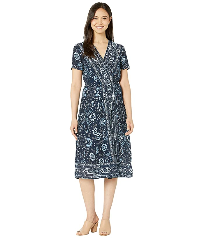 Lucky Brand  Ashley Wrap Dress (Blue Multi) Womens Dress