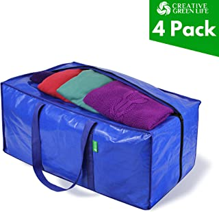 Heavy Duty Extra Large Storage Bags Moving Bag Totes (4-Pack). XL Storage Bins, Clothes Organizer. Great for Blankets, Comforter, Bedroom closet, Dorm Room Essentials, Moving Supplies, Clothes Storage