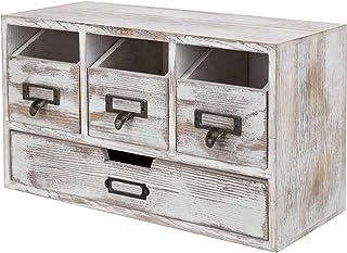 $37 » MyGift 4-Drawer Shabby Whitewashed Wood Desktop Office Storage Organizer Cabinet