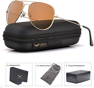LUENX Men Aviator Sunglasses Polarized - UV 400 Protection with case 60MM  Classic Style 5b169679b90c