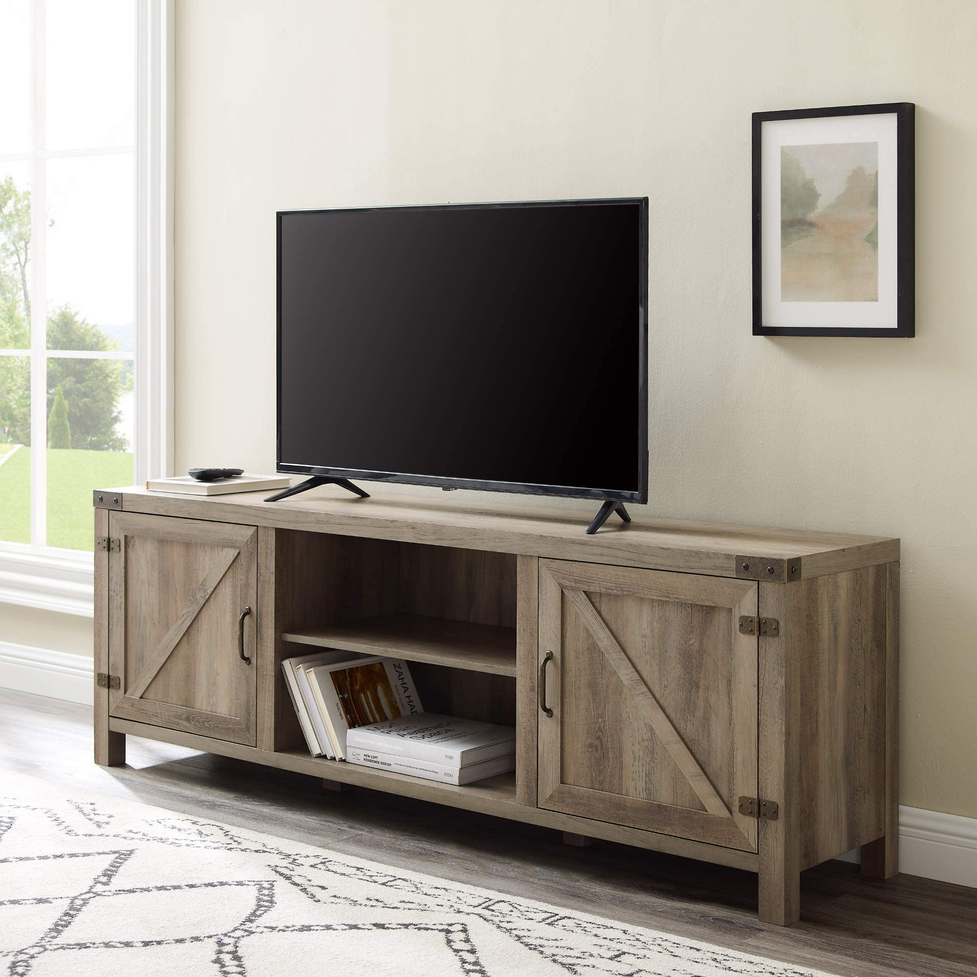 Rustic Solid Reclaimed wood 80 inch TV stand Media Center  Sideboard with 4 doors and shelves