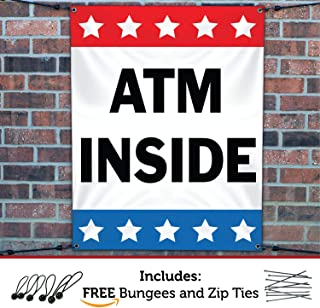 HALF PRICE BANNERS | ATM Inside Vinyl Banner -Mesh Wind Resistant 4X3 Foot -Stars | Includes Ball Bungees & Zip Ties | Easy Hang Sign-Made in USA