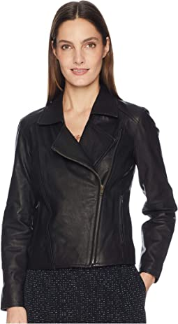 Rumpled Luxe Leather Moto Zip Jacket