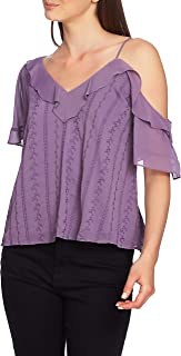 1.STATE Ruffle One-Shoulder Embroidered Top, Size Medium - Purple