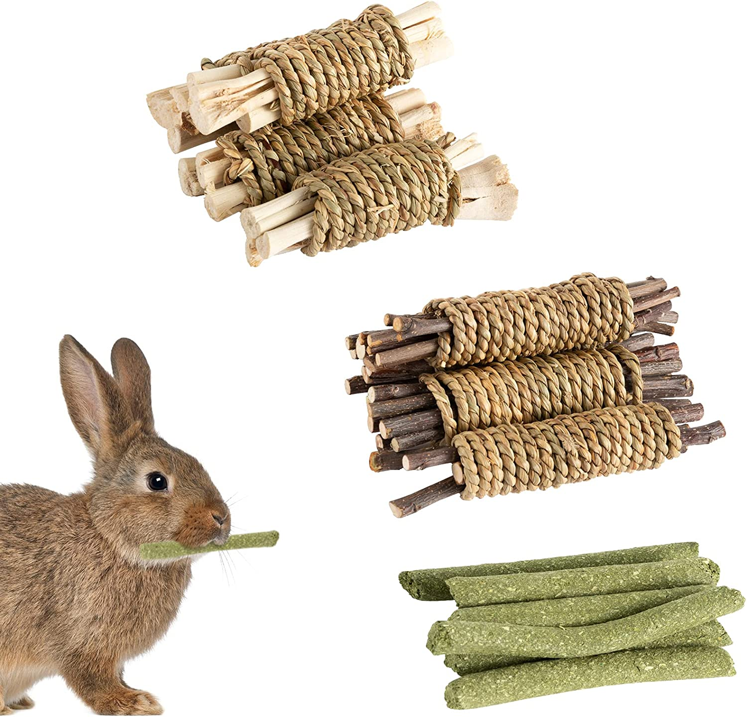 OFFicial site 16 Pack Bunny Seagrass Chew Fresno Mall Toys- Branch 4pcs Molar Apple Rabbit