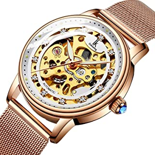 Bestn Women's Self Winding Wristwatches Skeleton Crystal Auto Mechanical Watch Mesh Watch Band