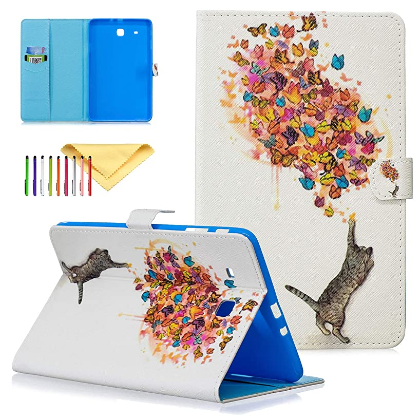 Galaxy Tab E 9.6 Case, SM-T560 Case - Cookk PU Leather Wallet Case with Stand [Magnet Closure] Protective Cover for Samsung Galaxy Tab E 9.6 Inch SM-T560 / T561, Cat Butterfly