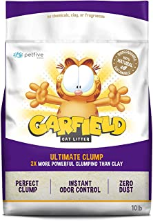 Petfive Garfield Cat Litter Ultimate Clump, All Natural, Fast Clumping, Good for Multi-Cat Homes, Small Grains, 10 lbs