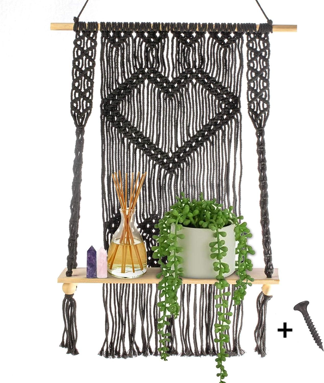 Black Macrame Wall Hanging Long-awaited Shelf-Boho with Shelf Heart Floating Sale price