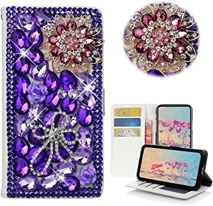 STYLISH STENES LG X Power 2 Case LG X Charge Case 3D Handmade Bling Crystal Leopard Flowers Desgin Wallet Credit Card Slots Fold Media Stand Leather Cover Case Gold