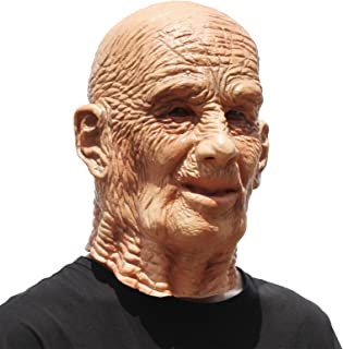 Human Old Man Mask Realistic Halloween Latex Human Wrinkle Face Mask