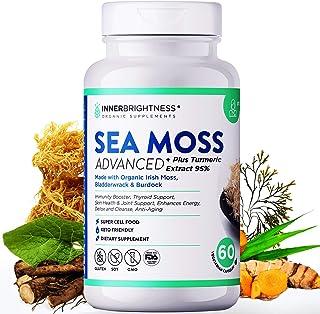 Inner Brightness Organic Irish Sea Moss Capsules Max Absorption + 95% Turmeric Curcumin with Bladderwrack and Burdock Root...