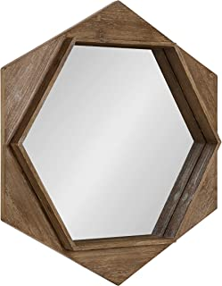 Kate and Laurel Yandel Contemporary Rustic Hexagon Wooden Wall Mirror, Distressed Light Brown