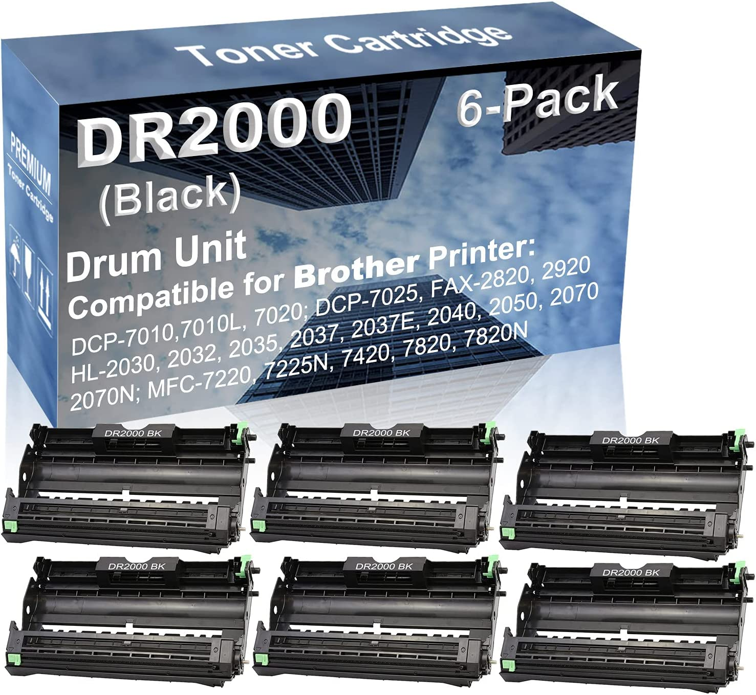 6-Pack Compatible Drum Unit (Black) Replacement for Brother DR2000 Drum Kit use for Brother HL-2070N, MFC-7220, MFC-7225N, MFC-7420, MFC-7820, MFC-7820N Printer