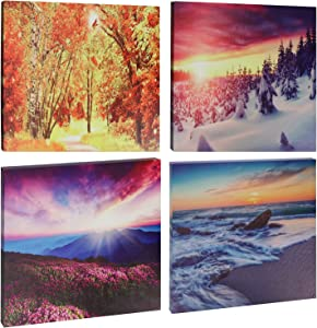 GUIFIER 4 Season Small Canvas Wall Art Spring Summer Autumn Winter Four Seasons Nature Wall Art Modern Landscape Painting Picture Framed Canvas Prints Wall Decor for Bedroom living Room (12 x 12 inch)
