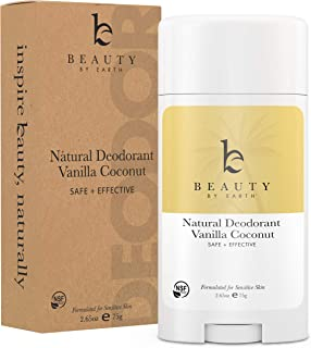 Natural Deodorant Vanilla Coconut - Organic Deodorant for Women, Aluminum Free All Natural Deodorants for Women and Mens Deodorant, Vegan Womens Deodorant Sensitive Skin, Travel Deodorant, 2.65oz Tube