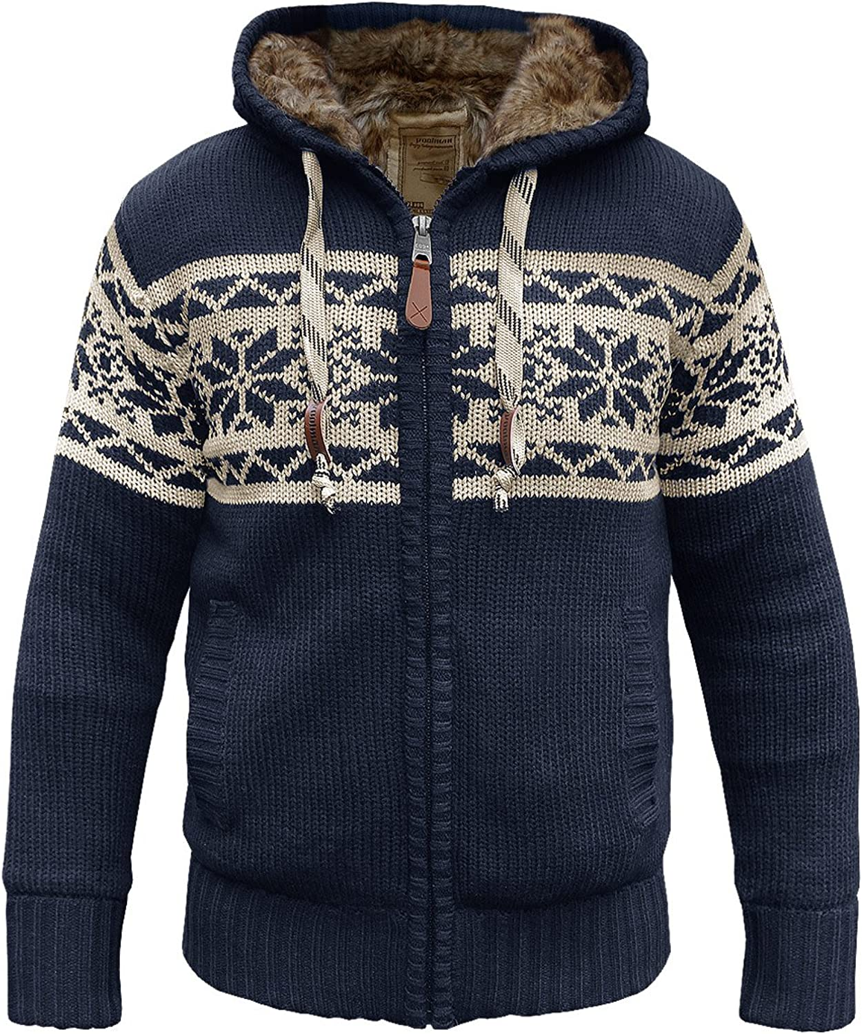 Poolman Nordic Knitted Hooded Jacket, Lined with Fur
