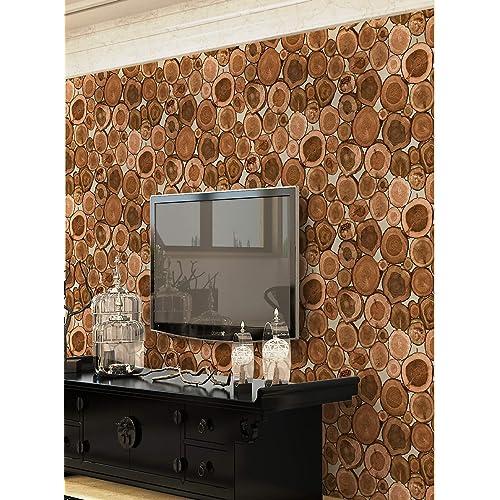 EUROTEX Wooden Blocks Design Washable Paper Wallpaper - 1 roll/57 sq ft